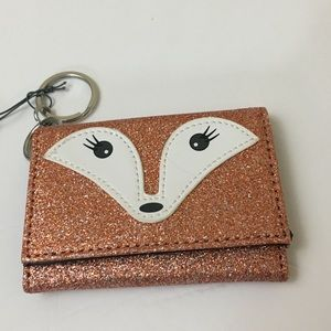 NWT Minicci Rose Gold Sparkly Fox Wallet